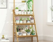 3 Tier Bamboo Plant Stand - Flower Plant Pot Wooden Shelf Stand - Display Garden Step Style Ladder Rack