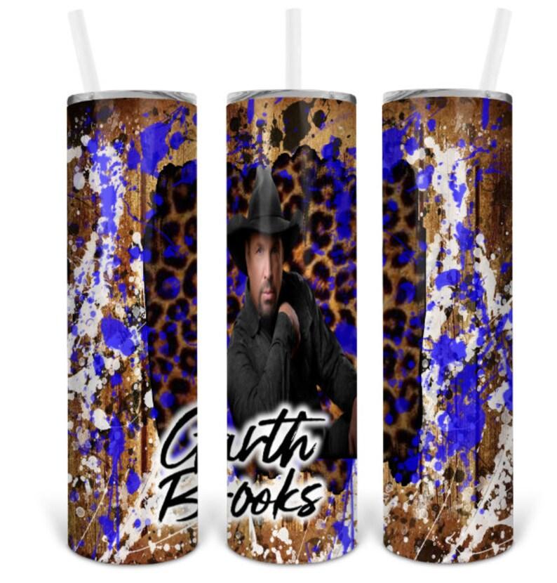 Garth Brooks  splatter leopard 20oz skinny straight tumbler design digital download PNG