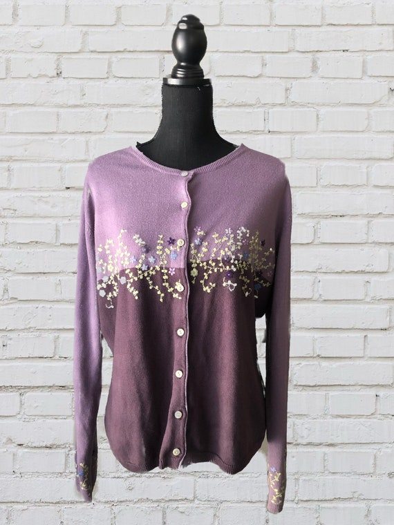 Y2K floral embroidered colorblock cardigan