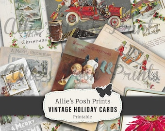 Digital Vintage Holiday Cards - Christmas Cards - Happy New Year - Christmas Ephemera  Kit Shabby Chic Journal - Scrapbook INSTANT DOWNLOAD