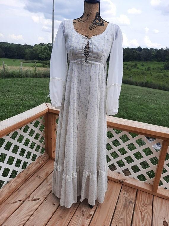 Gunne Sax corset top blue and white floral Prairie