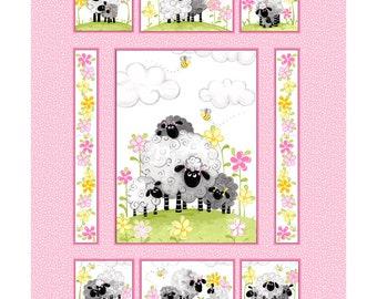 BTP Susybee's La the Lamb Quilt Panel, 100% Cotton