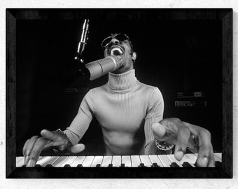Stevie Wonder Poster, Wall Art, Home Decor, Star Poster, Canvas Poster, Free Shipping