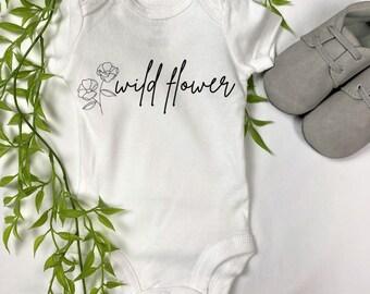 flower child onesie boho onesie Floral onesie wildflower onesie wild onesie organic onesie