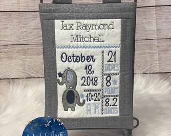 Elephant Embroidered Birth Announcement Wall Hanging ~ Personalized Birth Announcement ~Embroidery ~ Baby Gift ~ Boy Girl Birth Announcement