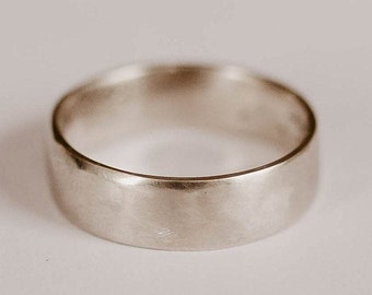 Forged Rustic Wedding Ring, Sterling Silver Band, Handmade Wedding Ring, Unique, Minimalist, Silver Ring, Simple, Men/Women's Wedding Band