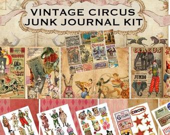 HUGE VINTAGE CIRCUS Junk Journal Kit Pages Pockets Ephemera Amazing Photos Clowns Printable Digital Antique Vintage Clip Art & Collage
