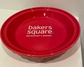 Fiestaware Scarlet Red Pie Plate-(Discontinued color)-bakers square logo inside