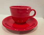 Fiestaware Scarlet Red Cup and Saucer-(Discontinued color)