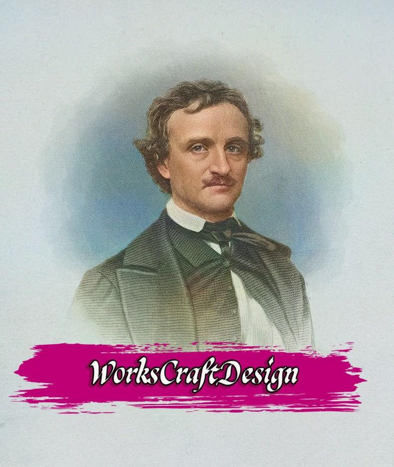 Edgar Allan Poe Colour Picture Ephemera Prints Pictures Tags Digital Downloads Printable Journal DIY Instant Download