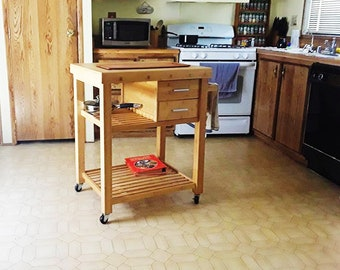 Indoor Rolling Wood Kitchen Island with Wheels, Kitchen Cart with Drawers Shelves Home Dining Room