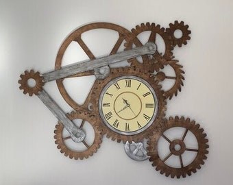 Modern Novelty Designer Moving Gear Vintage Retro DeskShelf  Clock with Bell Alarm