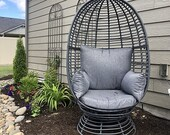 Swivel Wicker Outdoor Patio Basket Egg Chair Lounge with Cushion indoor home Garden