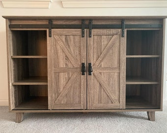 Coffee Bar Table for Kitchen Dining Living Room Modern Farmhouse TV Stand with Sliding Barn Door Buffet Sideboard Kitchen Storage Cabinets