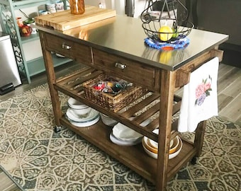 Farmhouse Solid Wood Kitchen Cart with wheels, Rustic Kitchen Island With Stainless Steel Top