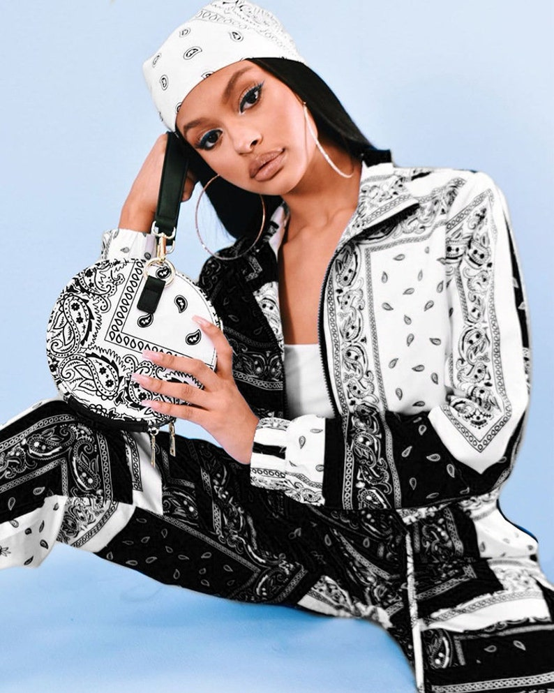 Jogger Pants Set Tracksuit Vintage Outfits Streatwear Paisley Bandana Print Two 2 Piece Set Women Fitness Sweatsuit Zipper Up Sweatshirt