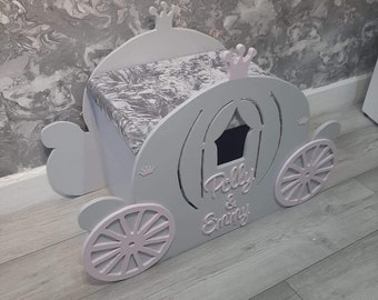 Personalised hand crafted princess carriage toybox velvet diamond lid