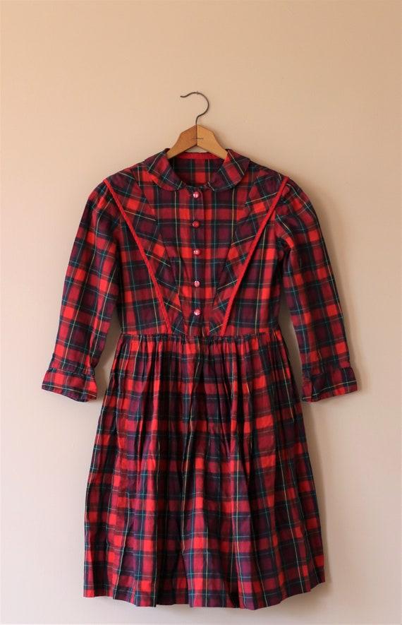 Vintage Dress - Young Girl - Red & Green Tartan Pl