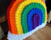 Boho rainbow pillow, decorative pride pillow, pride decoration, nursery decorative pillow, bobble rainbows, customizable pillow