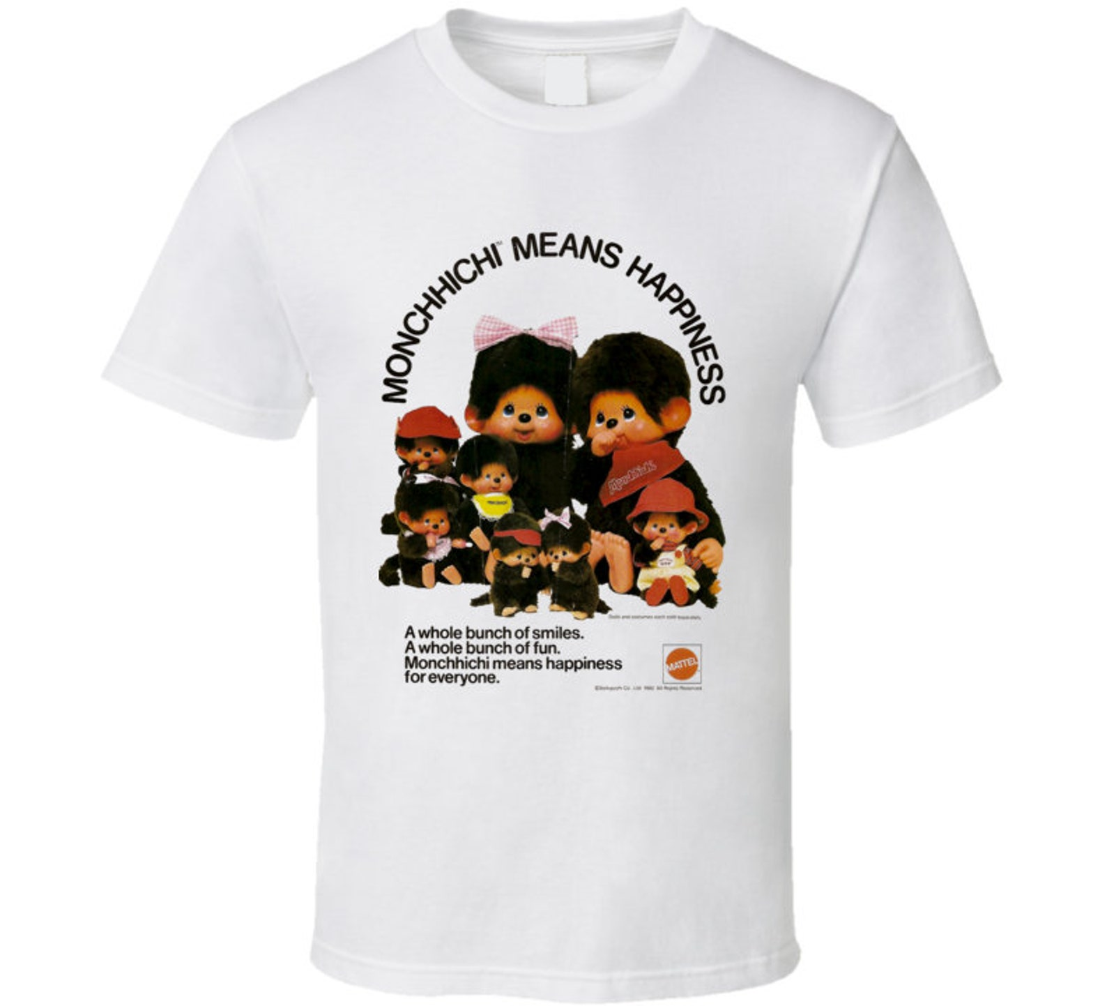 Monchhichi Means Happiness Japanese Stuffed Toy Monkey Retro Old Ad T Shirt