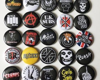 """25 1"""" Punk Button Pin Set Various Bands"""
