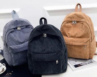 Vintage Corduroy Backpack, Velvet Backpack Women, Eco Friendly Backpack,Reusable School Backpack,Vintage Backpack,Travel Rucksack,School Bag