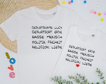 Kids T-Shirt Personalized Statement Earth Children Peace Freedom Gift by Name