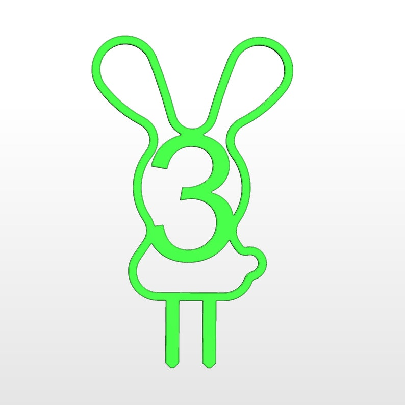 Funny cake topper Rabbit cake topper Stl file 3d printing 3 year digit numbers svg stl file Bunny Cake Topper birthday age number