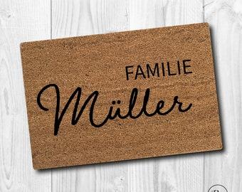 Personalized Indoor Coconut Doormat 'Family' | Indoor mat gift to move in | Wedding gift | Door mat | doormat