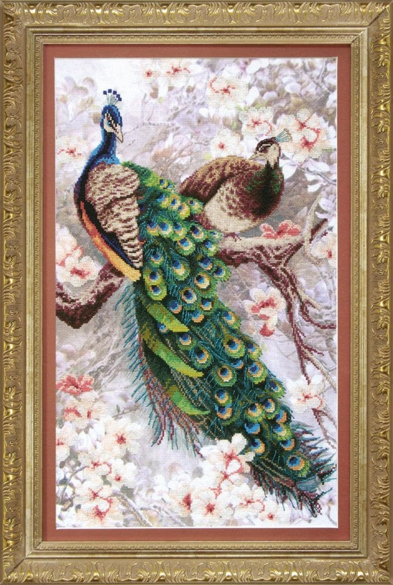 """Cross stitch kit Crystal Art """"Two peacocks in blooming magnolia"""""""