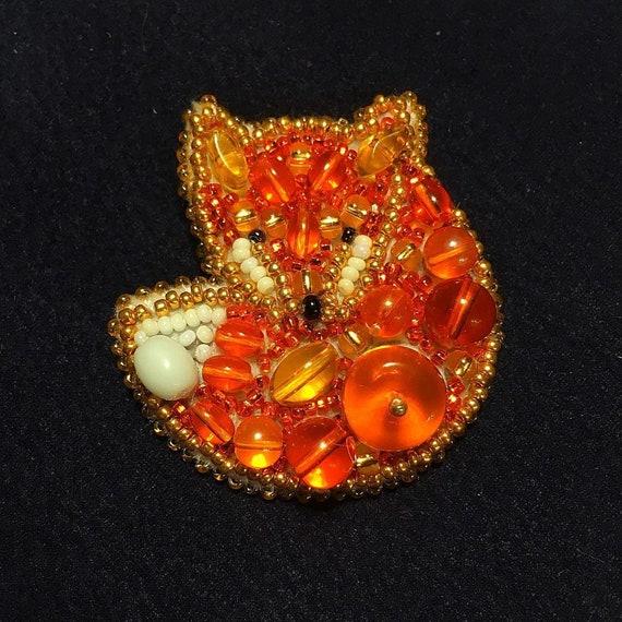 PDF pattern Fox DIY brooch bead embroidery KIT Fox brooch kit, Handmade Jewelry, embroidered fox kit, Accessories, animal Jewellery
