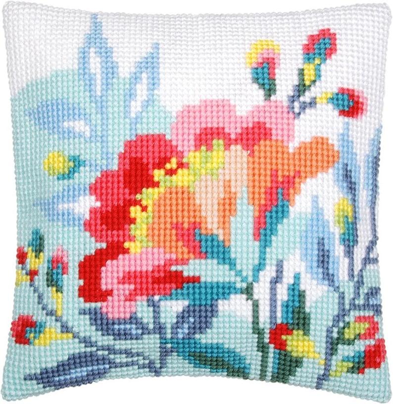 DIY Needlepoint Pillow Kit Bright Flowers  Cross Stitch image 0