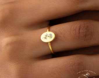 Birth Flower Ring, Floral Ring, Bridesmaid Gift, Minimalist Ring, Dainty Mom Ring, Mothers Day Gift, Sterling Silver Ring, Gold Signet Ring