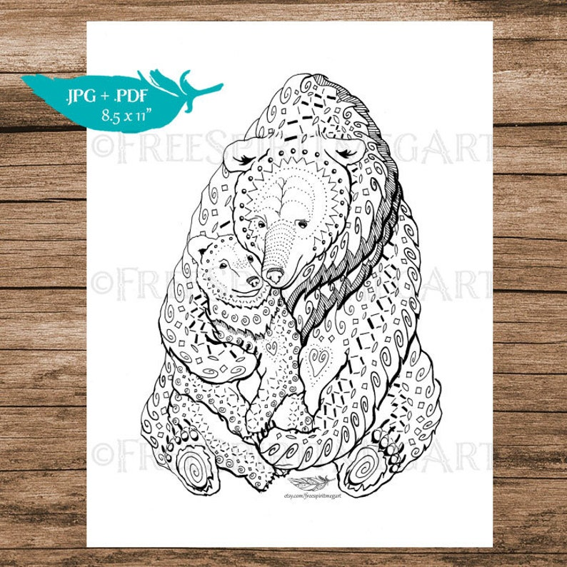 Mother Bear Coloring Page Mama Bear Instant Download image 0