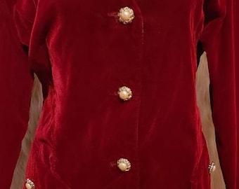 Vintage Raniero Gattinoni Italy Velvet Suit Skirt Suit