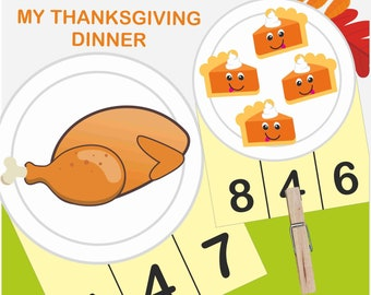 Thanksgiving Count and Clip Cards, Fall, Montessori Counting Cards, Clip Cards, Flash Cards, Educational Material, Montessori Printable