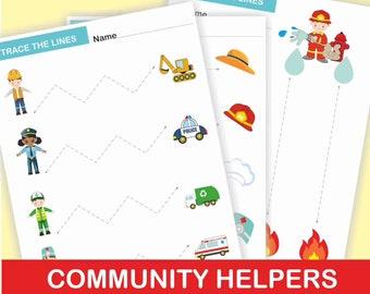 Community Helpers Activities, Tracing Worksheets, PRE-WRITING PRACTICE. Tracing Activities. Tracing Workbook Printable, Activity Book