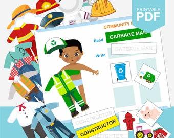Community Helpers,Occupation Printable, African American, Preschool Printable, Homeschool Activity, Busy Binder, Preschool Worksheets