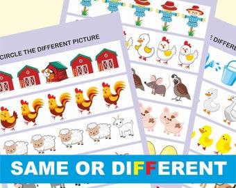Toddler & Preschool Worksheets, Preschool Busy Book Page, Learning Activities Binder, Printable Worksheets,   Logic activities