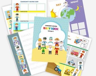 Community Helpers Busy Book - Occupation Printable, Professions, Preschool Printable, Montessori Activity -Busy Binder, Preschool Worksheets