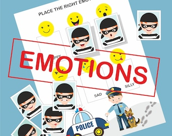 Printable Feelings and Emotions Busy Book, Cops and robbers, Match the Feelings Activity, Emotions Matching, Feelings Chart, BusyBook Page
