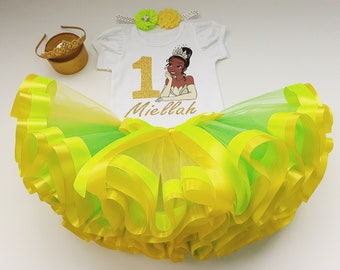 7th Seventh 7 birthday party Shirt Personalized  2 Pc Tutu Green outfit  Fast shipping TIANA-Princess and the Frog Birthday +NAME+