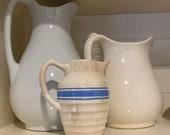 Vintage Farmhouse Pitcher, Creamer - Blue Stripes
