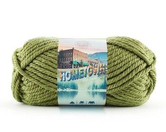 OKLAHOMA CITY GREEN Lion Brand Hometown Yarn Wt 6 super bulky acrylic machine wash dry knit crochet fiber art diy project supply (5540)