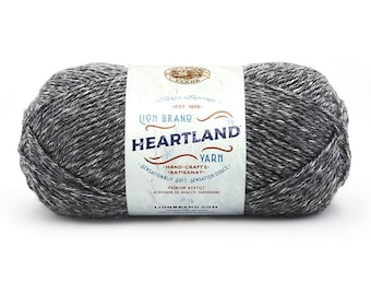GREAT SMOKY MOUNTAINS gray Lion Brand Heartland National Park Yarn Wt 4 worsted machine wash dry knit crochet art project supply (6084)