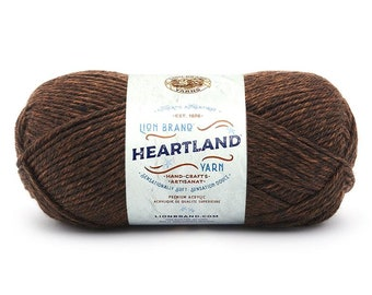SEQUOIA chocolate brown Lion Brand Heartland National Park Yarn Wt 4 worsted machine wash dry knit crochet fiber art project supply (5882)