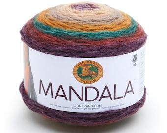 WARLOCK Lion Brand Mandala Yarn Wt 3 light acrylic variegated machine wash and dry knit crochet fiber art DIY project supply (5757)