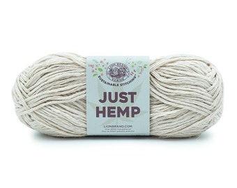 Just Hemp SHELL Lion Brand Yarn Wt 5 bulky 100% Hemp all natural fiber art sustainable supply machine wash dry knit crochet macrame (5941)