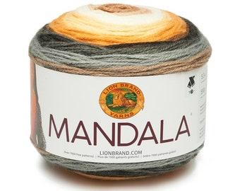 BROWNIE Lion Brand Mandala Yarn Wt 3 light acrylic variegated machine wash and dry knit crochet fiber art DIY project supply (5759)