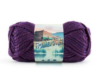 PORTLAND WINE purple Lion Brand Hometown Yarn Wt 6 super bulky acrylic machine wash dry knit crochet fiber art diy project supply (5534)